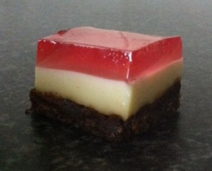 Biscuit Coconut and Jelly Slice