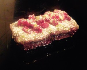 Coconut Lime Black Rice Cake with Raspberries recipe
