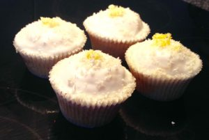 Low Fat White Chocolate Lemongrass Salted Macadamia Cupcakes