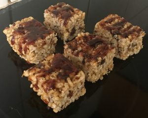Rice Walnut Date and Butterscotch Caramel Slice