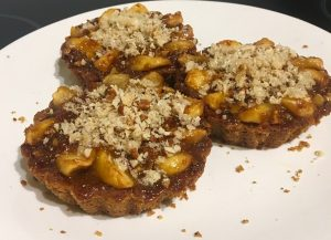 Pretzel Based Caramel Apple Walnut and Pork Crackle Tart recipe