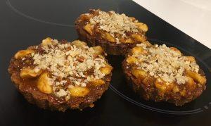 Pretzel Based Caramel Apple Walnut and Pork Crackle Tart recipe